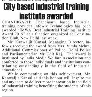 City Based Industrial Institute Awarded.